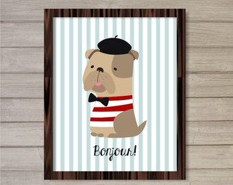 Frenchie French Bulldog Bonjour Wall Art Printable - Baby Blue 8x10- French Saying Instant Download Baby Boy Room Nursery Decor Poster Print