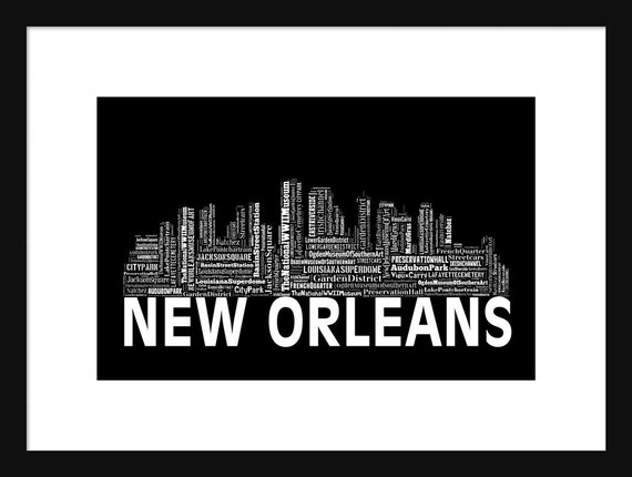 New Orleans Poster Art New Orleans Skyline Word Art