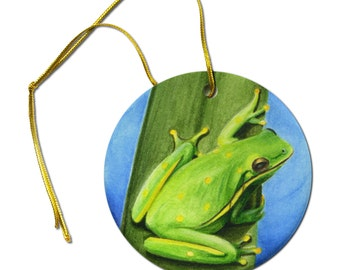 ACEO Art  Print of  Frog on a Leaf  Ceramic Hanging Ornament