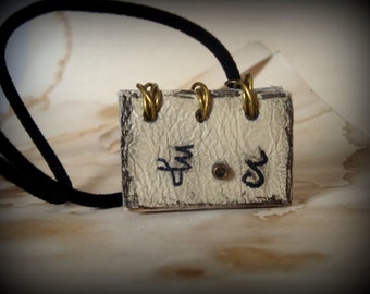 Custom Zodiac  Charm Mini Book Necklace  by Dryw on Etsy