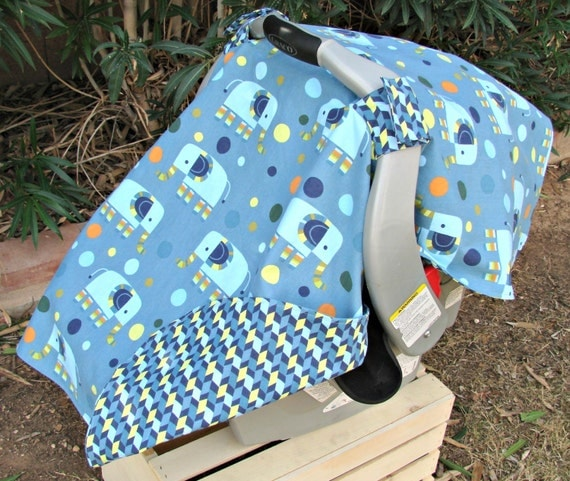 Infant Car Seat Canopy Blue Elephants