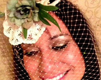 Bacall// Brilliant Couture Tear-Drop-Shaped Fascinator, Vintage Fabrics, India Embellishments, OOAK