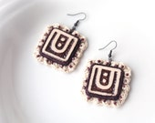 Geometric Square Earrings, ecru brown earth tones crochet ceramic tiles