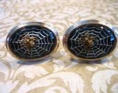 RESERVE for Kerri geoghegan Vintage Spider on Web w Cross Knights Templar Cufflinks RARE