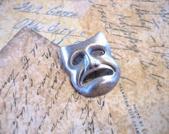 Vintage Miniature Sterling Silver TRAGEDY Brooch Pin
