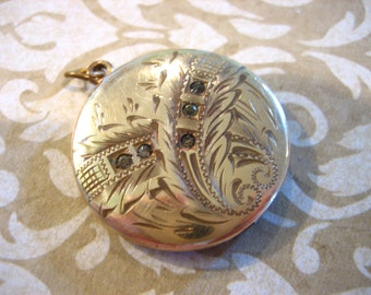 Antique Edwardian RBM Atrice Gold Filled Mourning Locket w Paste stones