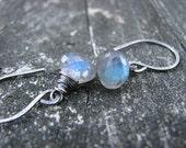 Teal Blue Stone Earrings Blue Flash Labradorite Oxidized Sterling Silver Wire Wrapped Labradorite Drops