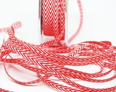 Striped Chevron Twill Ribbon -- 1/4 inch -- Red White