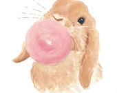 Rabbit PRINT - Watercolor Painting, 5x7 watercolor PRINT, Nursery Art, Bubble Gum
