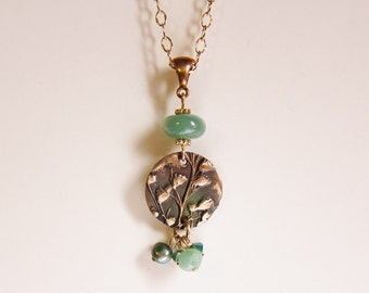 One of a kind artisan jewelry Gold botanical medallion necklace Ready to ship Green and gold cluster necklace Nature inspired jewelry