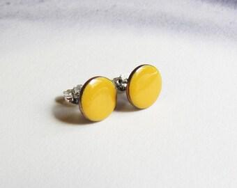 Yellow stud earrings Small enamel post earrings Tiny yellow earrings Minimalist jewelry