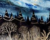 Fine Art Print-Indigo Aurora & the Golden Forest