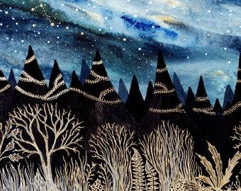 Fine Art Print-Indigo Aurora & the Golden Forest
