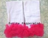Leg Warmers, Baby Leggings, Baby Leg Warmers - White with Hot Pink Ruffle Leg Warmers