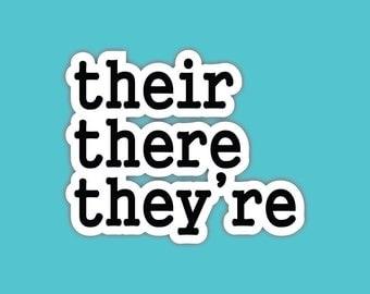 their there they're grammar die cut sticker