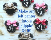 Embroidered Felt Center Hair Clip Clippie You Choose the Center from Any Bow in my shop