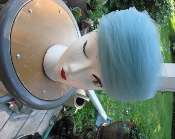 Beehive Hat / Pale Blue Net Hat / Genie Hat / Swirls of Netting in Pale Blue / Lord and Taylor Salon Label / Amrose New York