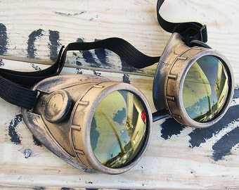 STEAMPUNK CYBER Welders Goggles Distressed - Look Antique Brass - Gold