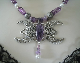 Amethyst Triple Moon Goddess Necklace, wiccan jewelry pagan jewelry wicca jewelry goddess jewelry witch witchcraft handfasting metaphysical