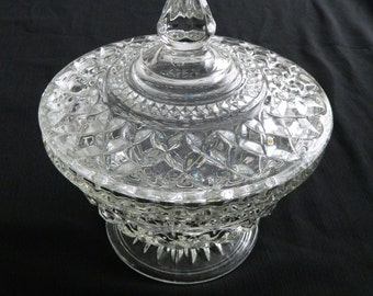 Anchor Hocking Wexford Crystal Covered Candy Dish Vintage Diamond Pattern