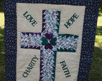 Quilt - Cross Wall hanging - Love-Hope- Faith-Charity
