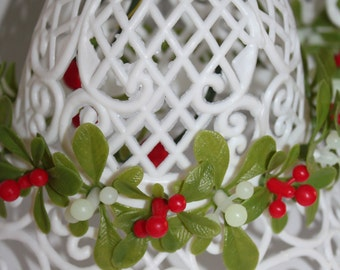 Plastic Lace Christmas Bells Vintage with Holly Set of three