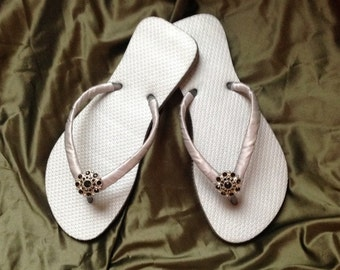 Bridal Party Silver Brazilian Made Rubber Flip Flops With Satin Wrapped Straps Completed with Silver and Black Rhinestone Embellishment