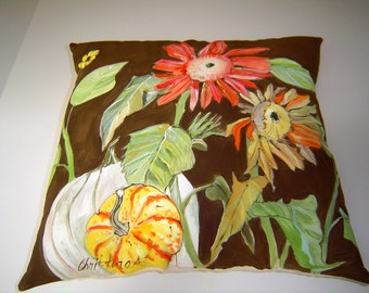 Sunflowers on Brown Pillow 15x15 Hand Painted Original Art - White Pumpkin Squash Fall Decor for Home & Cottage