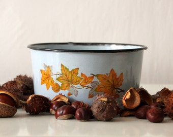 Vintage enamel bowl from Soviet Union, beautiful autumnal design