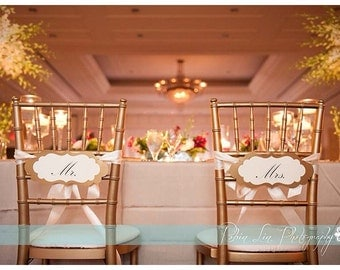 Mr. and Mrs. Chair Signs, Wedding Chair Decor, Wedding Decor, Reception Decor, Bride and Groom Chair Signs, Gold Chair Signs