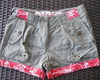 Cargo Shorts, Retro Batik, Eco Friendly, Upcycled, Khaki, Girls AU Size 12