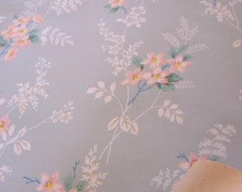 Vintage Wallpaper c1930s PINK florals on powder blue French Shabby Cottage framing repurpose decoupage journal mixed media art DIY boxes SVF