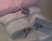 Unisex, Girl or Boy Plush Baby Set,Custom Baby Gift,Embroidered Blanket,Burp,Bib and Lovie