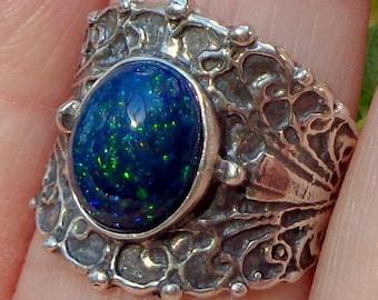 Black Ethiopian Welo Opal, Sterling Silver Ring