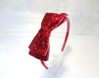 Red Glitter Bow Headband. Christmas Headband. Girls Hair Accessories, Adult Hair Accessories, Red Bow Headband. Sparkle Headband