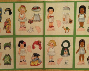 A Wonderful Sibling Arts New Ethnic Paper Doll Fabric Panel Free US Shipping