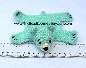 Dollhouse Miniature Knitted Bear Skin Rug - Lt Teal - Limited Edition