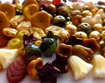 133 Czech Glass Autumn Leaf Flower Mix in Shades Opaque Mustard and Creams/Golds/Browns with Freshwater Pearls 17 Diifferent Beads