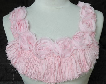 Cute  embroidered  chiffon  flower  applique pink color 9 1/2 inches around the neck 1 1/2 inches wide at the shoulder