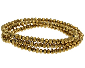 450pcs 4mm Wholesale Gold Beads - Crystal Rondelle Beads - 4mm x 3mm - Gold Crystal Beads - Tiny Metallic Gold Spacer Bead Strands B63