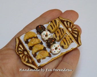 Pastry miniature in golden tray dollhouse