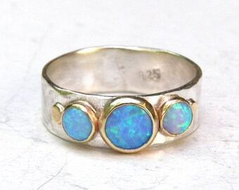 Unique Engagement Ring, Blue Opal Ring, Gold and Silver Engagement Ring, Wedding Ring, Gemstone Ring, Hammerd silver Ring, Anniversary Ring