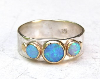 Blue opal Ring, Engagement Ring ,14k gold ring ,anniversary gift, Gift for her,  MADE TO ORDER, wedding gift, gift ideas,valentines day gift