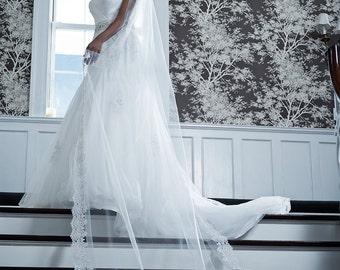 Wedding Veil - Cathedral Length with Vintage Beaded Alencon Lace At Bottom Edge - White, Diamond White, Light Ivory, Ivory