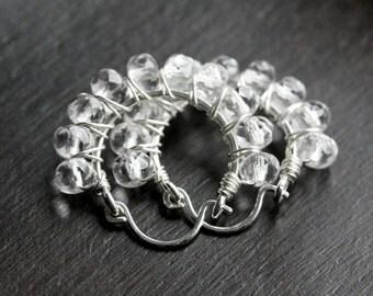 Sterling silver beaded hoops, clear Czech glass beads, hoop earrings, wire wrapped hoop, Mimi Michele Jewelry