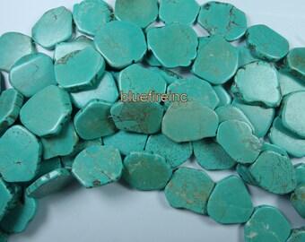 Magnesite 25mm- 30mm slab freeform flat pebble pendant beads gemstone - Blue - full strand