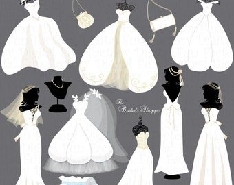 "Wedding Clip Art Clipart ""Wedding Dress Wedding Clip Art"" Wedding Silhouette Clip Art Wedding Invitation Clip Art Bride Clip Art 1062ff"