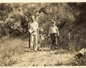 """Young Boys WALKING ALONG PATH with Their Pellet Guns in Hand In Wonderful """"Stand By Me"""" Type Photo 1933 Kellogg Idaho"""