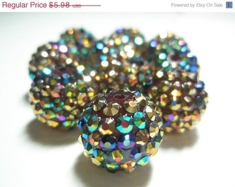 CLEARANCE SALE 16 mm - Basketball Wives Inspired- HOT New Item -10 Rhinestone Resin Beads/Balls - Multi-Colored