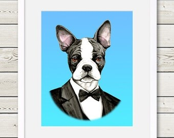 Boston Terrier Art - Boston Terrier Groom Dog Portrait Painting - Wedding Dog Art - dog print, dog home decor